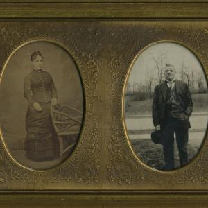 The BEFORE image of the couple in a brass frame.
